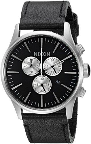 (Nixon Men's 'Sentry Chrono' Quartz Metal and Leather Watch, Color:Black (Model: A405000-00))