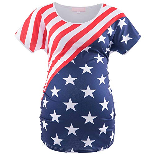 - Bhome American Flag Print Maternity T Shirt 4th of July Pregnancy Top USA Flag M