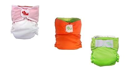 Pañal lavable RELAX - Kit 10 cambio colories Blanco/Naranja, Naranja/