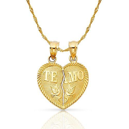 Ioka Jewelry - 14K Yellow Gold Small ''Te Amo'' Couple Broken Heart Charm Pendant with 0.9mm Singapore Chain - 16'' by Ioka Jewelry