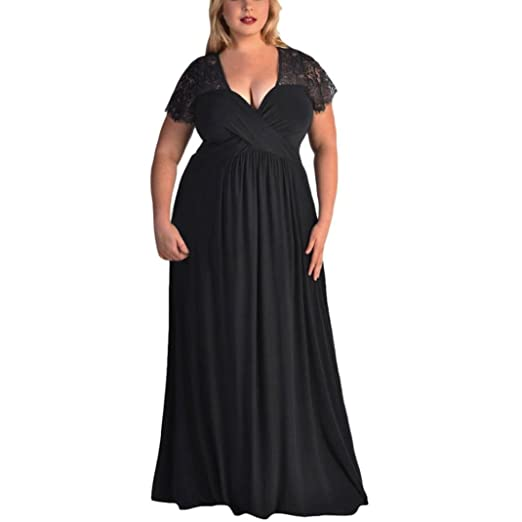 Minisoya Women Plus Size Short Sleeve Casual Evening Prom Party Gown