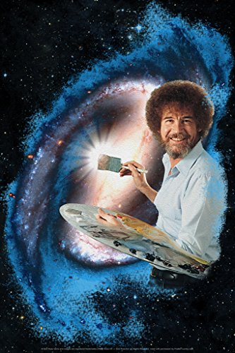 Bob Ross Galaxy Painting Art Print Poster 12x18 inch -