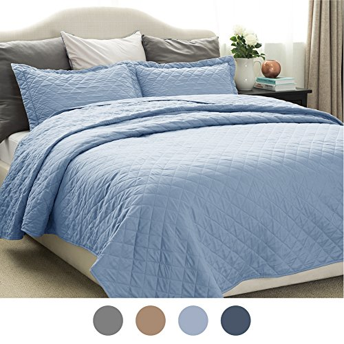 Three Layer Throw (Quilt Set Solid Grayish Blue Twin Size(68