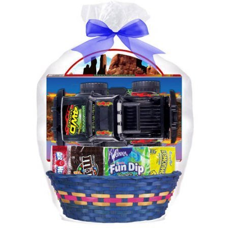Easter Gift Basket - 4x4 Truck Toy & Favorite Candies (color will vary)