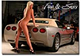Girl Blonde with Car Fast & Sexy Refrigerator