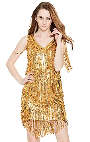 f72444a3a15e0 Dance Zone レディース スパンコール ワンピース ドレス Vネック フリンジ キャミワンピ ノースリーブ デコルテ 光沢 ストレッチ キラキラ