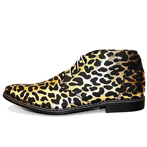 PeppeShoes Modello Gepardo - Handmade Italiano da Uomo in Pelle Oro Chukka Boots - Vacchetta Pelle Morbido - Allacciare