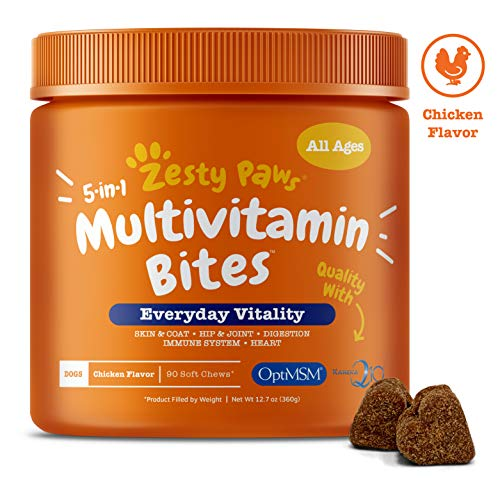 Allergy Multivitamin - Zesty Paws Multivitamin Treats for Dogs - Glucosamine Chondroitin for Joint Support + Digestive Enzymes & Probiotics - Grain Free Dog Vitamin for Skin & Coat + Immune Health - Chicken Flavor - 90ct