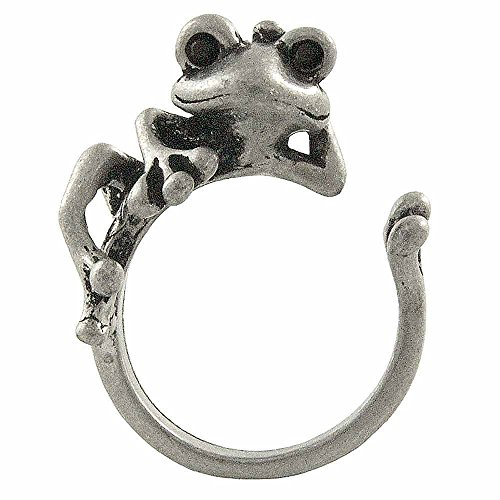 - Enhanced Tree Frog Adjustable Animal Wrap Ring Vintage Silver Tone