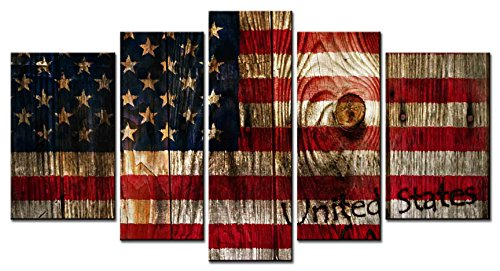 SmartWallArt - Culture Series Home Decor Artwork the Stars and the Stripes American Flag Annual Ring Wall Art 5 Piece Paintngs Print on Canvas Framed for Living Room (Rustic American Flag)