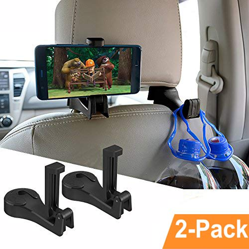 Car Hooks Car Seat Back Hooks with Phone Holder,OCUBE(2 Pack) Universal Vehicle Car Headrest Hooks Hanger with Lock and Phone Bracket for Holding Phones and Hanging Bag, Purse, Cloth, Grocery-Black