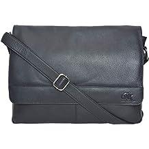 "Oak Leathers Leather Laptop Messenger Bag for Men - Premium Office Briefcase 15"" MacBook Professional College Mens Womens Side Bags"