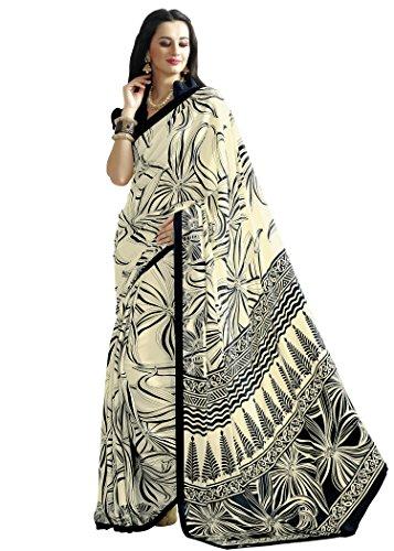 Jaanvi fashion Designer Black Crepe Printed Saree With Blouse (Designer Saree Black)