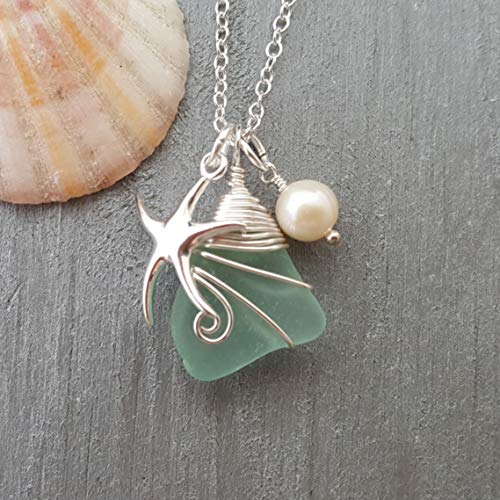 (Handmade in Hawaii, Genuine surf tumbled natural sea glass, wire wrapped Hawaiian Gift, FREE gift wrap, FREE gift message, FREE shipping)