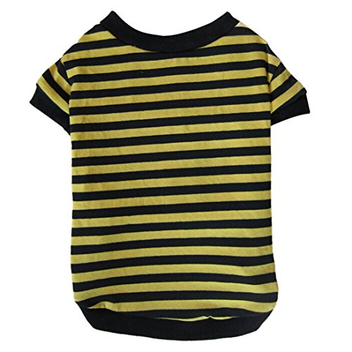 Image of HP95 Dog Shirt, (TM) 2015 Fashion Summer Pet Dog Classic Wide Stripes T-Shirt, Doggy Clothes Cotton Shirts (Yellow, S)