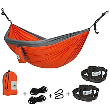 Towering Tree- Outdoor Hammock and Free Tree Straps Set - Double Hammock is suitable for Camping and Travel made of Parachute Silk Fabric and placed in a Small Portable Bag. LIMITED TIME OFFER