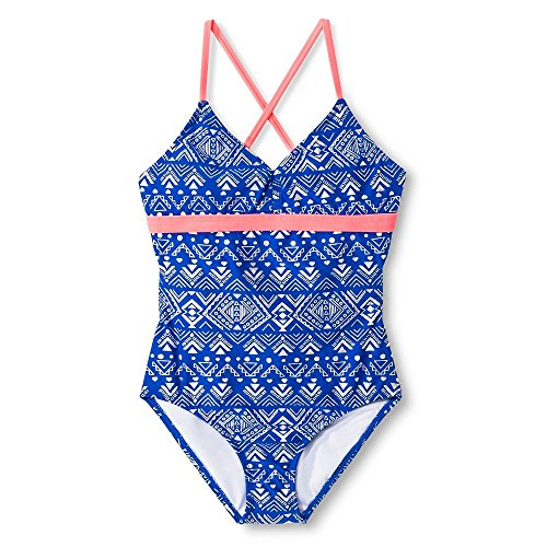 Circo Girl's One Piece Cross Strap Royal Blue & Silver Swimsuit (Small (6/6X), (Circo Blue Swimsuit)
