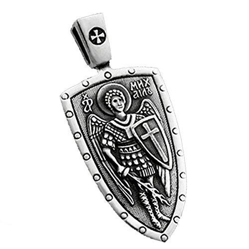 VENICEBEE ARCHANGEL SAINT MICHAEL CROSS SHIELD STERLING SILVER MEDAL CHRISTIAN ORTHODOX PENDANT NECKLACE ST.MICHAEL