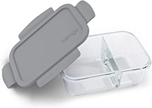 Bentgo Glass Snack (Gray) – 2-Compartment Bento-Style Glass Food Storage for Snacks and Small Meals | Ideal for Meal Prep, Leftovers, and Portion Control, BPA-Free, Food-Safe Materials