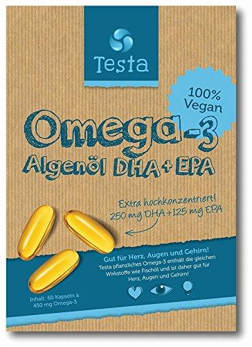 Testa Omega 3 - Algenöl DHA + EPA - Vegan pflanzlichen Omega-3 - 60 Kapseln