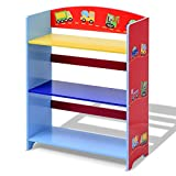 Svitlife Kids 3-Tier Adorable Corner Cars Book Bookshelf Student Us Children Child Bookcase Wall Home New