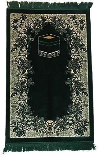Velvet Prayer Rugs Sajda Rugs Sajjadah - Islamic Muslim Prayer Rugs Musalla Janamaz Prayer Mat Sajjadah Rug Prayer Carpets (Green Velvet (28'' x 48'')) by Noor Prayer Rugs