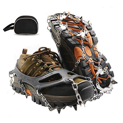 SUNANASKY Traction Cleats Ice Snow Grips Anti Slip Stainless Steel Crampons with 19 Spikes for Walking, Jogging, Climbing, Hiking (Medium)