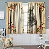 Birthday Blackout Window Curtain Adorable Fluffy Cat with Rose Branches in Greeting Card Inspired Design Customized Curtains 55' W x 63' L Tan Grey and Coral