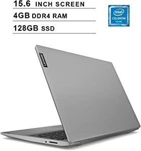 "Lenovo 15.6"" High Performance Laptop, Intel Celeron 42050U Dual-Core Processor, 4GB DDR4 RAM, 128GB SSD, Webcam, Wireless+Bluetooth, HDMI, Window 10 (Intel Processor) (Platinum Gray)"