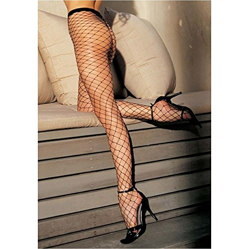 X96627 Plus Size Stretch Big Hole Fishnet Pantyhose, - Big Hole Fishnet Pantyhose