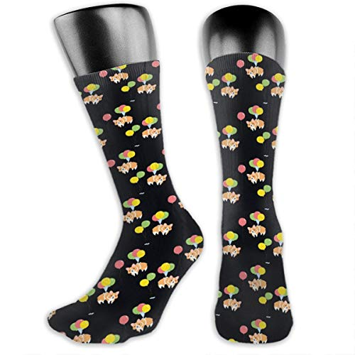 TLDRZD Unisex Kawaii Corgi Party with Colorful Balloon Novelty Stockings Funny Crazy 3D Print Casual Crew Tube Socks