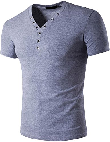 Teamoluna Mens Cotton V-neck Short Sleeve Button Slim Henley Shirt (US,M/Asia,L) Light (Aynsley Henley)