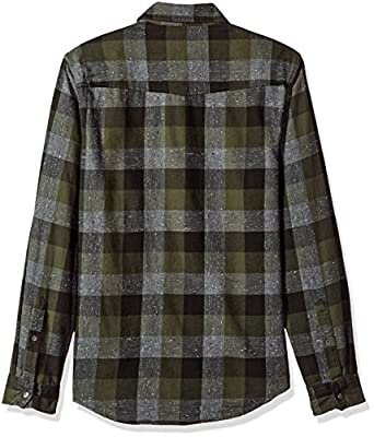 Calvin Klein Jeans Men's Long Sleeve Buffalo Brushed Plaid Button Down Shirt