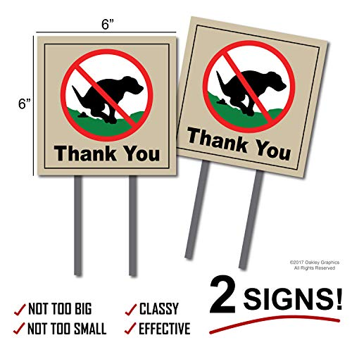 2 Signs, No Pooping, Dog Poop Yard Sign, Thank You ()