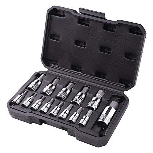 TACKLIFE 14-Piece Hex Bit Socket Set, Metric, S2 Steel + CR-V - ()