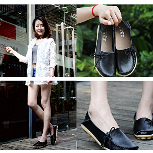Gaorui Work Shoes Casual Moccasins Loafers Faux Comfy Flat Women Driving Black Leather Br8qwBnv
