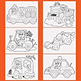 ETI Toys, 6 Canvas Set - 6 Cars and Trucks Themed Pre-Sketched Panels - 8x10 in Canvas for Painting with Stencil Drawings for Artist Kids +6yrs - Primed, 100 Percent Cotton & Acid Free Canvases