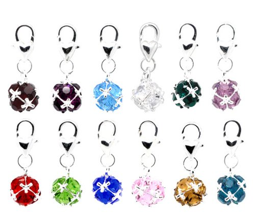 Housweety Mixed Birthstone Charm Bracelet