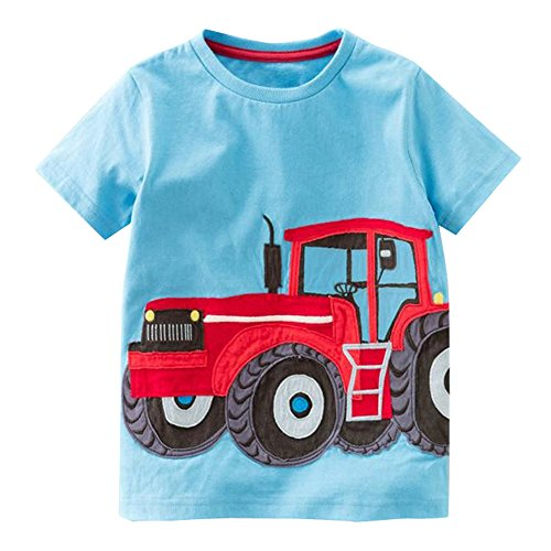 iYBUIA Simple Design Toddler Kids Baby Boys Girls O-Neck Clothes Short Sleeve Cartoon Tops T-Shirt Blous(Blue,130) -