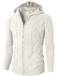H2H Mens Casual Slim Fit Premium Knitted Twist Pattern Zip up Cardigan With Hood