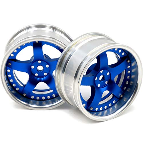 2pcs RC 1/10 Aluminum Wheel Rims Hex 12mm Adjustable Offset Blue & Silver Color Fit 1:10 RC On Road Drift Touring Car Tires ()