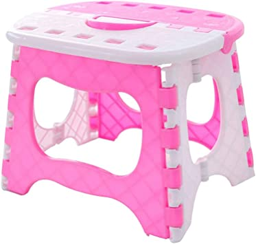 by e2e Pink Sturdy Plastic Kids Step Stool Home Bathroom Kitchen Holds 45kg Maximum