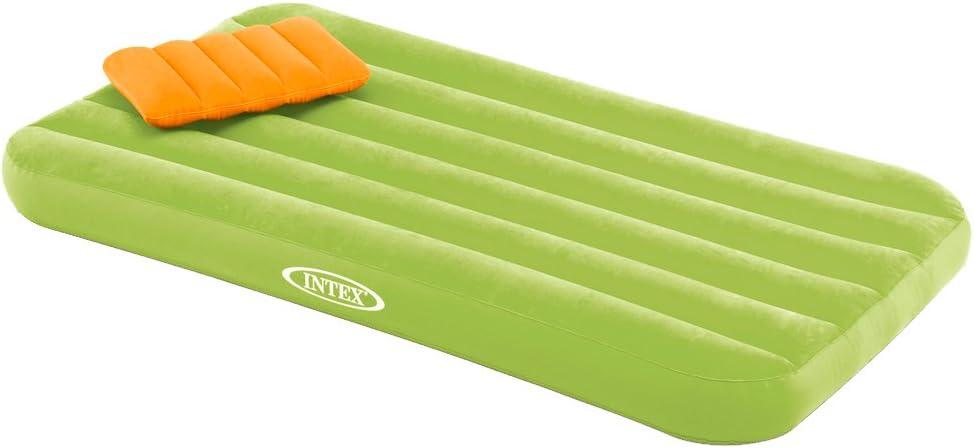 Intex 66801 - Colchón hinchable infantil con almohada Cozy Kidz, verde