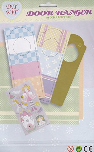 Children's Do It Yourself Princess Themed Double Sided Door Hanger Kit (Princess Door Hanger Craft)