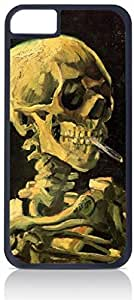 Vincent Van Gogh Skull of A Skeleton With A Burning Cigarette- Case for the Apple Iphone 5C-Hard Black Plastic Outer Shell with Inner Soft Black Rubber Lining