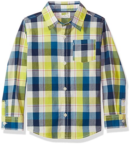 Crazy 8 Toddler Boys' Long-Sleeve Dress Shirt, Navy Plaid, 2T