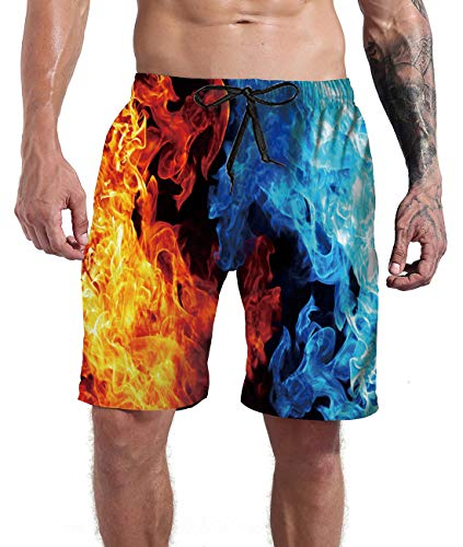 Goodstoworld Outdoor Shorts Mens Swim Trunks Beach Board Shorts Summer Casual Holiday 3D Orange Blue Pant Quick Dry Pool Bathing Suits XL (Best Design Of Clothes)