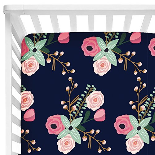 - Sahaler Baby Floral Fitted Crib Sheet for Boy and Girl Toddler Bed Mattresses fits Standard Crib Mattress 28x52 (Navy Lilac)