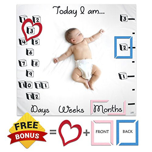 Large Unisex Baby Monthly Milestone Blanket Set With Photo Prop Felt Frames By Little Gonza - Photography Backdrop For Boy Girl Newborn Infant Toddler / Perfect For Baby Registry, New Mom, Baby Shower by Little GONZA