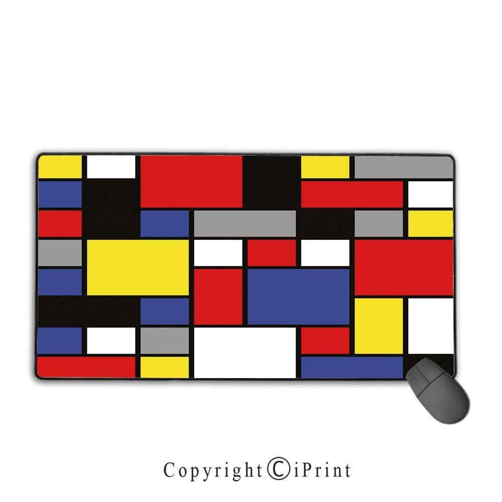 Stitched edge mouse padartmondrianesque pop design with colorful squares lively colors geometric shapes printmulticolorpremium textured fabric